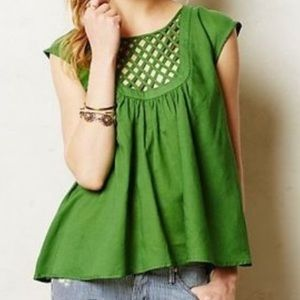 Anthropologie lattice kelly green blouse top